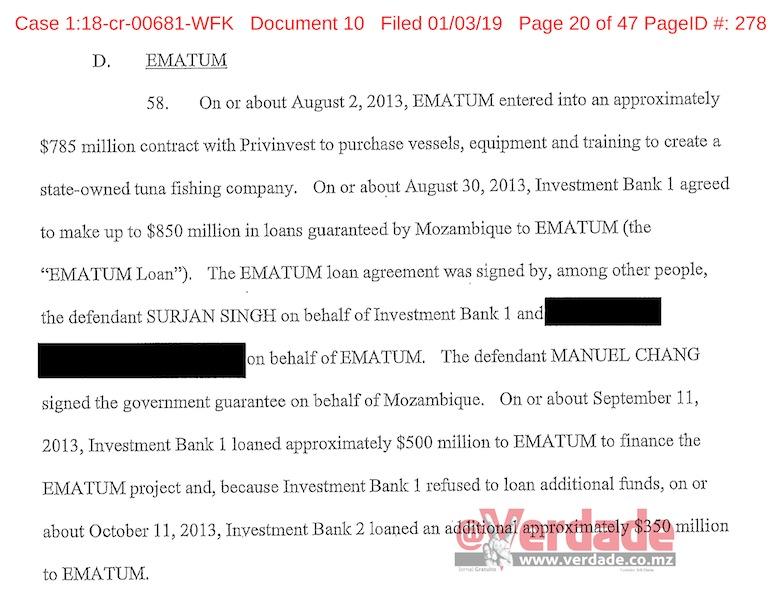 Despacho da acusação proferida pelo United States District Court for Eastern District of New York