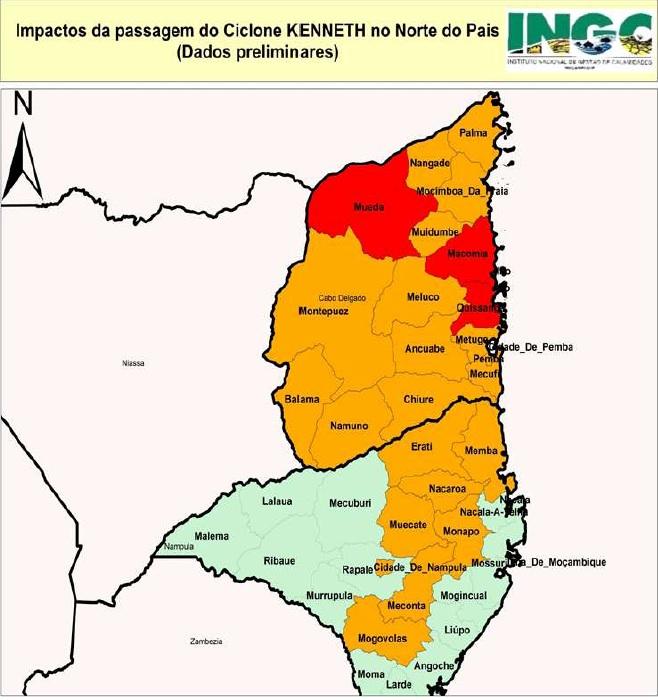 Mapa do INGC